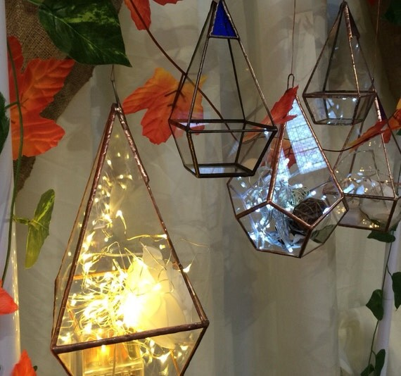 Pyramid Terrarium Stained Glass Candle Holder Geometric