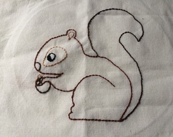 Woodland Squirrel Hand Embroidery Dish Towel