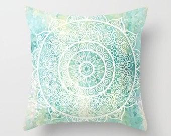Mandala Pillow Cover, Aqua Pillow, Turquoise Pillow, Throw Pillow, Art Pillow, Decorative Pillows, Couch Pillows Bohemian Decor, 18x18 24x24