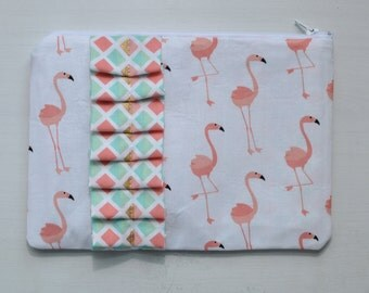 Flamingo Pink Ruffle Zipper Pouch