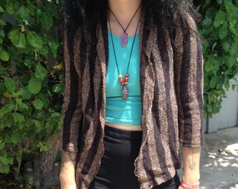 Vintage Hippie 70s Stripped Loose Knit Cardigan Sweater
