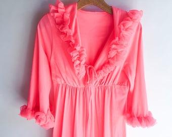 Vintage I Dream Of Jeanie Lingerie Ruffle Pajama Loungewear Pants Culottes Bright Peach Nightie Onesie Pajamas Peach Ruffled 1950s
