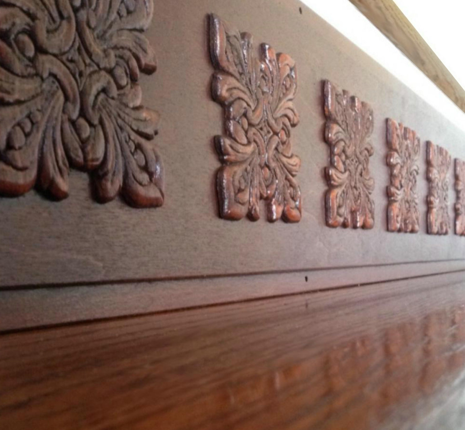 Carved Wood Stair Risers Stair Ideas Stamped Leather: Faux Carved Wood Look / Alternative To Vinyl Stair Decals