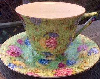 Springtime Chintz Teacup and Saucer Japan