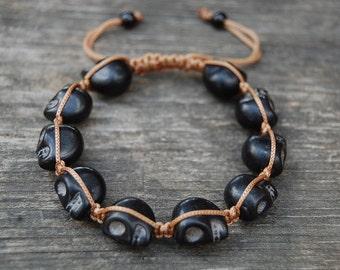 Black Skull Bracelet,Gemstone Shamballa Bracelet,Yoga,Meditation Bracelet Fit All, Gemstone Beads, Man,Women, Beaded Jewelry,Ethnic Bracelet