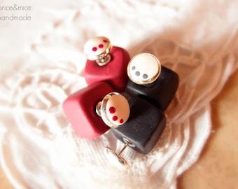 Double sided earring, double bead Earring, modern earrings, geometrical earrings, minimal earrings, cube earrings, Mother's Day