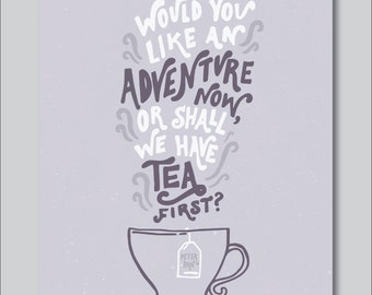 Tea by Peter Pan Hand Lettered Print (8x10 digitally printed)