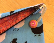Coin Purse with vintage button zipper pull
