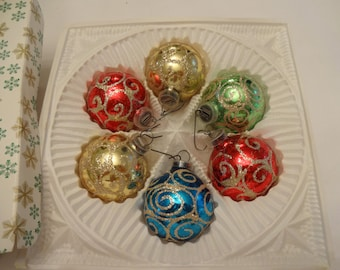 Christmas ornaments, vintage, West Germany. 6 Ornaments