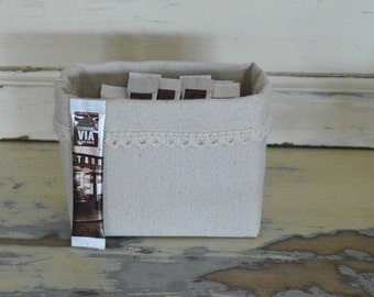 "Storage Bin Small Organizer Simple Chic Rustic Linen and Lace Fabric Basket Home Office Small size 5.25""x 4"" x 3.25"""