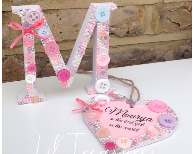 Personalised Crystal gift set. Embellished freestanding letter & matching hanging heart. Children's gift's