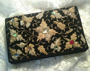 Vintage Black Velvet Evening Bag Clutch