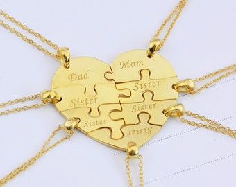 Heart Puzzle Necklace,Family Necklace,7 pieces puzzle Necklace,Heart Pendant Necklace,Name Necklace,Engraved Necklace,Memorial Necklace N019