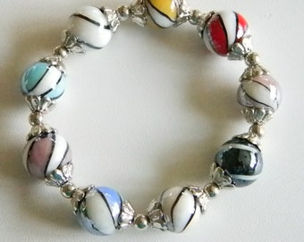 Multi Colored Beaded Stretchy Bracelet