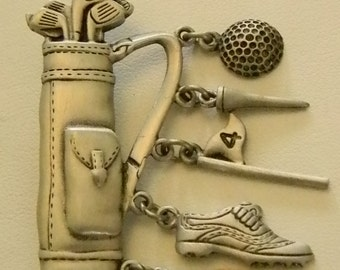 JJ Pewter Golf Bag Pin Brooch With Charms