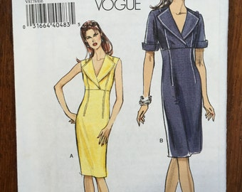 VOGUE PATTERNS Very Easy Vogue 8178 UNCUT Misses Empire Waist Sheath Dress Pattern Size 14-20