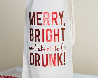Wine Gift, Christmas Wine Bag, Holiday Wine, Gifts Under 15, Gift for Wine Lover, Hostess Thank You, Holiday Entertaining, Xmas Humor