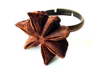 Ring STAR ANISE -- natural star anise ring, jewel, by All Things Natural