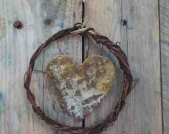 Heart Wreath, Nature Lover, Valentine, Birch Bark Heart
