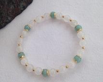 White jade and Amazonite bracelet, white jade bracelet, turquoise and gold, white and gold, gift for her, girlfriend gift, semi precious