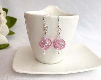 Pink lampwork earrings, pink earrings, gift for her, lampwork jewellery, pink sparkle earrings, Spring gift, gift for mum