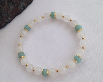 White Jade and Amazonite bracelet, natural white Jade bracelet, turquoise and gold, white and gold, gift for her, girlfriend, summer for her
