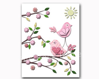 Children room decor, baby room decor pink bird decor kids room decor nursery room decor baby nursery art print birds decoration pink nursery