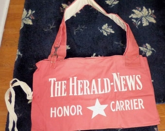 Vintage 1951 Canvas Newspaper Delivery Bag THE HERALD NEWS New Jersey