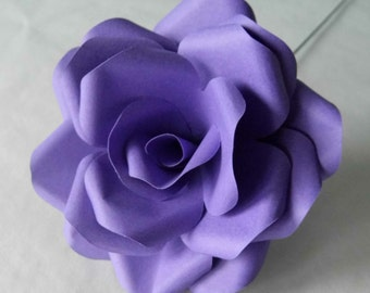 3 Dark Purple Roses, Handmade Paper Flowers