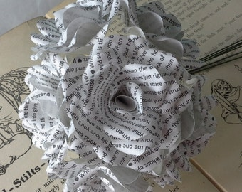 "6 x Love Poem ""The One"" Handmade Paper Flower Roses - Romantic Wedding Flowers, Anniversary Flowers"