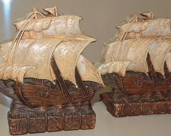 Vintage Ship with Sails Book Ends