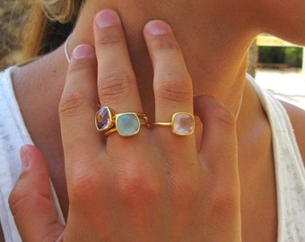 Pink Chalcedony Ring - Gemstone Ring - Stacking Ring - Gold Ring