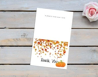 Fall Thank You card, Fall Thank you, Stationary,blank note cards, Pumpkin note card