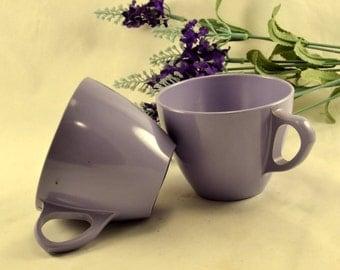 Purple Melmac Coffee Cups - Royalon Inc. - 2 Lavender Coffee Mugs