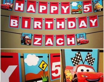 Disney Cars Birthday Banner, Disney Cars Banner, Disney Cars Birthday, Lightening McQueen Banner