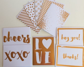 Gold foil cards, blank cards, gold greeting card