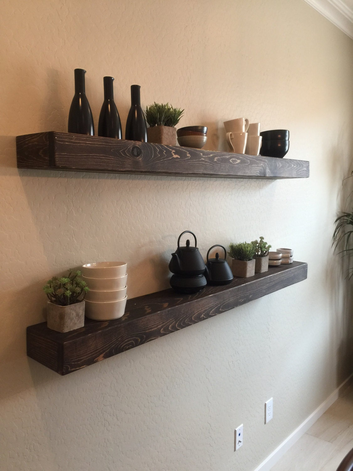 Set Of 2 Large Rustic Style Floating Shelves By
