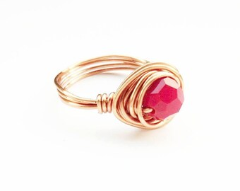 Red Rose Gold Ring- Red Beaded Ring - Rose Gold Jewelry- Rose Gold Jewellery- Red Rose Gold Ring- Gold Bead Ring- Elegant Wire Wrapped