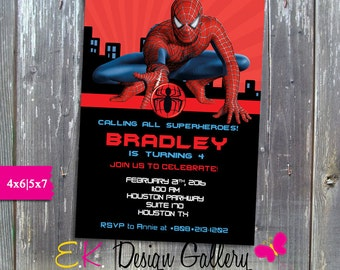 Spiderman Invitation, Birthday Party Invitation, Superhero Invitation, Peronalized Spider-man Invitation, Digital Invitation