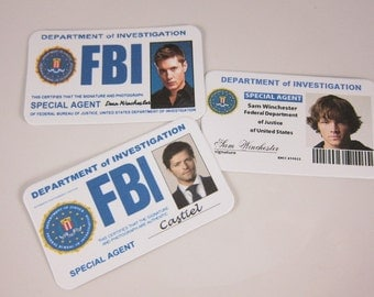 Set of 6, Supernatural Inspired FBI card, Sam, Dean, Castiel