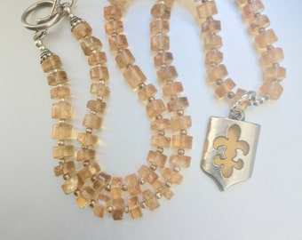 Citrine Necklace with Fleur De Lis Pendant