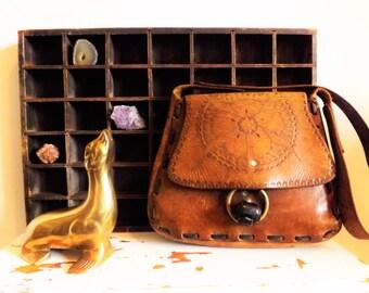 Beautiful Vintage Hand Tooled Leather Purse