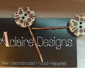 Handmade Vintage OOAK Button Hairpins