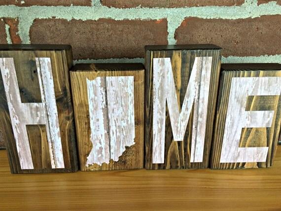 Indiana Home Blocks White Rustic Wooden Letter Blocks