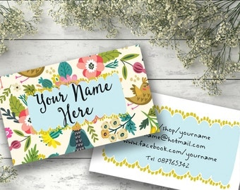 Customised business card design bright whimsical colorful watercolor illustration custom modern flowers birds personalised
