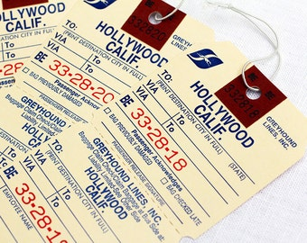 3 x Vintage Luggage Tag Baggage Oscars Party Movie Invitations Travel Theme Invites Greyhound Hollywood Bus Gift Hang Tags Paper