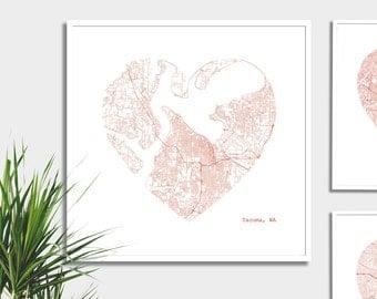 Tacoma Washington CIty Heart Map - Art Print