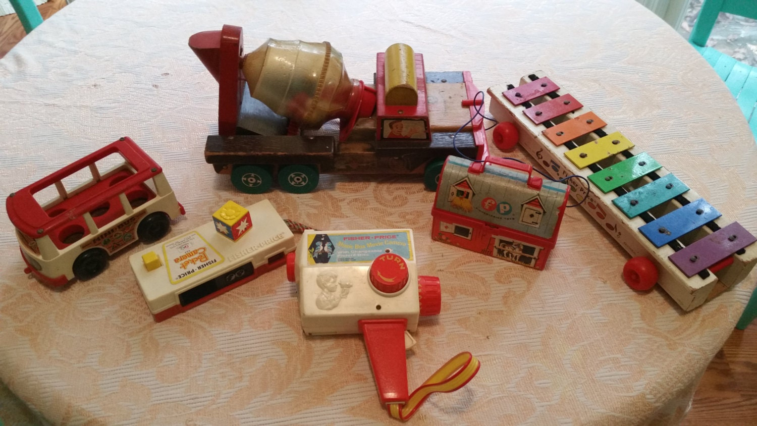 60 S Toys : Vintage s and fisher price toys cement