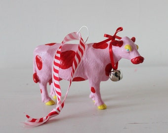 Hand painted cow hanging decoration