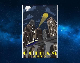 Gotham City Travel Poster Fridge Magnet. Inspired by by Batman Comics